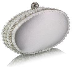 Kabelka saténová so štrasom Onna, ivory 13869 - VašeKabelky. Bridal Hair Accessories, Bridal Jewelry, Bag Accessories, Bridal Clutch Bag, Clutch Bags, Wedding Bag, White Beige, Grey, Coin Purse