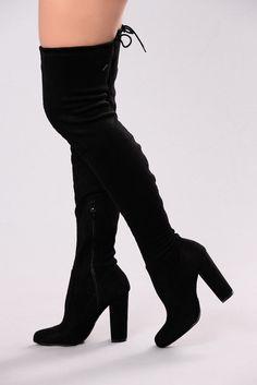 Pretty In Thigh High Boots - Black