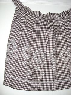Brown & White Gingham Vintage APRON with Chicken Scratch Embroidery by curiouskitty, $5.00
