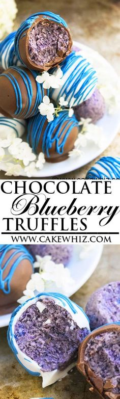 These easy healthy CHOCOLATE BLUEBERRY TRUFFLES are raw, vegan and made with ingredients that are good for you. Great as an energy snack or guilt free dessert! Perfect Summer recipe. {Ad} From http://cakewhiz.com