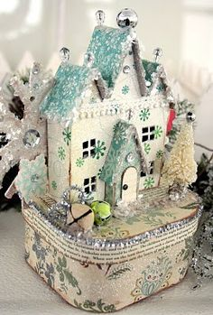 crystal clear glitter adds a magical shimmer to miniature houses