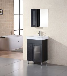 "Milan 24"" Single Sink Vanity Set in Espresso"