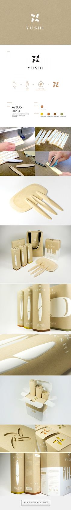 Packaging and branding for YUSHI on Behance by Ning Li New York, NY curated by Packaging Diva PD. Single-use, biodegradable tableware made from tree-f... - a grouped images picture - Pin Them All