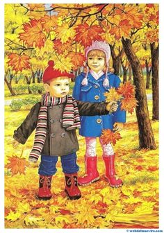 Autumn two brothers and sisters wall art full diamond embroidery new embroidery decoration diy diamond painting cross stitch Autumn Activities, Preschool Activities, I Love Snow, Autumn Scenes, Illustrations, Four Seasons, Fall Halloween, Autumn Leaves, Childhood Memories