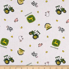 John Deere Nursery Animal Toss White from @fabricdotcom  Designed by Deere & Company and licensed to Springs Creative Products, this cotton print fabric is perfect for quilting, apparel and home decor accents. Due to licensing restrictions, this item can only be shipped to USA, Puerto Rico, and Canada. Colors include green, white, yellow, pink and grey.