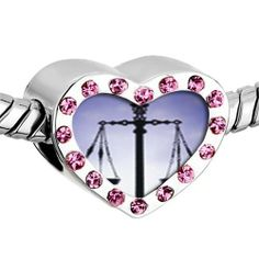 Pugster Pink Swarovski Crystal Scales Of Law And Justice Photo Heart Silver Plated Beads Fits Pandora Charm Chamilia Biagi Bracelet Pugster. $16.49. Metal: Metal, crystal. Size (mm): 12.95*7.4*10.31. Color: Silver tone, light rose. Weight (gram): 2.8