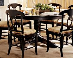 Dark Wood Double Pedestal Dining Table: Drop Dead Gorgeous Black Rounded Pedestal Dining Table Sets With Tableware And Magazine ~ wiligear.com Dining Room Inspiration