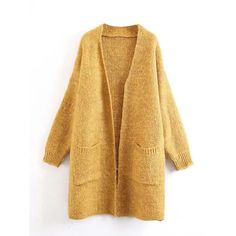 Yellow Pocket Open Front Mohair Blend Longline Cardigan (836.170 IDR) ❤ liked on Polyvore featuring tops, cardigans, long line cardigan, open front tops, yellow cardigan, brown open front cardigan and pocket cardigan