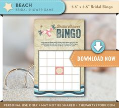 beach bridal shower bingo card game printable bridal shower game wedding party decorations and invitation available instant download