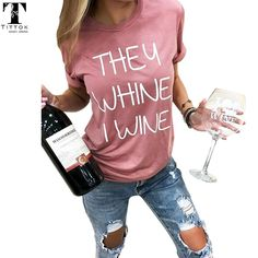 New arrivals casual pink They Whine I Wine funny letter print short tees women tops shirts t shirt for women Funny Shirts Women, T Shirts For Women, Vinyl Shirts, Tee Shirts, Funny Letters, Woman Wine, Printed Shorts, Graphic Tees, Casual