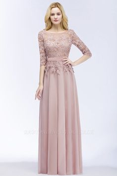 long prom dresses - PAMELA Aline Floor Length Half Sleeves Appliques Bridesmaid Dresses with Sash Prom Dresses Long Pink, Bridesmaid Dresses With Sleeves, Elegant Prom Dresses, Wedding Bridesmaid Dresses, Beautiful Dresses, Formal Dresses, Lace Dresses, Formal Prom, Wedding Gowns