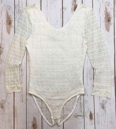 Bethany Mota Long Sleeve Lace Bodysuit Off-White Ivory Juniors Size Medium Boho    eBay