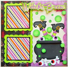 Scrapbook Layout using Scrapbooking Paper Piecings. SVG File can be used with the Cricut Explore, Silhouette or Pazzle inspiration. This will make a great Page Layout for Halloween - PBLJ Graves Studio: Witches Brew Halloween Scrapbook Page Halloween Scrapbook, Disney Scrapbook, Baby Scrapbook, Scrapbook Paper Crafts, Halloween Cards, Scrapbook Cards, Wedding Scrapbook, Paper Crafting, Scrapbook Sketches