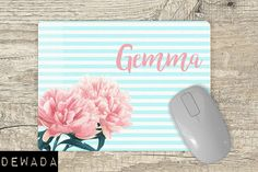 Personalized Mouse Pad floral pink flowers blue and white stripes Striped Background, Can Design, Cute Pink, Vivid Colors, Pink Flowers, Blue And White, Stripes, This Or That Questions, Floral