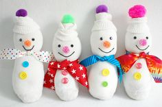 Sock snowmen! I've seen a few of these before, but I love how cute and colorful these are!
