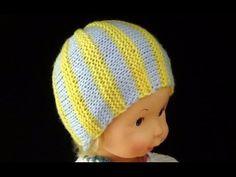 57125ba1e7362 Cómo Tejer Gorrito para Recién Nacido-Newborn Baby Hat 2 Agujas (297) Gorros