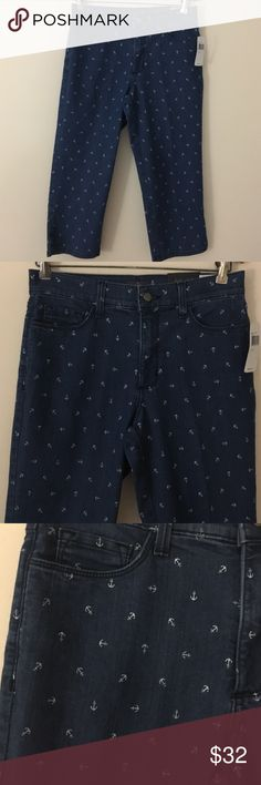 """NWT NYDJ Crop Capri blue jeans 6 anchor pattern Classic casual and fun NWT NYJD Crop Capri blue jeans in a size 6 featuring a white anchor pattern. Made in USA. Dimensions taken while garment is laying flat: 28"""" at opening, 34"""" hips, 11"""" rise, 21"""" inseam. Fabric is 80% cotton, 19% poly, 1% spandex. Care instructions turn garment inside out cold water wash gentle cycle line dry. NYDJ Jeans Ankle & Cropped"""