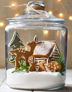 christmas cookies gingerbread Weihnachtspltzchen 4 Clever Ways to Turn Gingerbread Cookies into a Woodland Wonderland Terrarium filled with Gingerbread Cutout cookies, including a reindeer, tree, house, and bunnies Christmas Gingerbread House, Noel Christmas, Christmas Goodies, Christmas Treats, All Things Christmas, Christmas Decorations, Gingerbread Houses, Xmas, Gingerbread Decorations