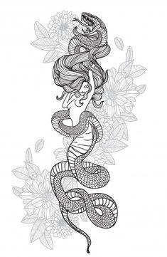 Spine Tattoos, Leg Tattoos, Body Art Tattoos, Small Tattoos, Sleeve Tattoos, Hip Tattoos Women, Medusa Tattoo, Snake Tattoo, Dream Tattoos