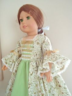 """AG Felicity's """"Golden Forest"""" Colonial Gown, for Felicity and Elizabeth Floral Print Fabric, Floral Lace, Floral Prints, How To Make Bows, How To Wear, Shades Of Gold, Ag Dolls, Green Cotton, Dress Making"""