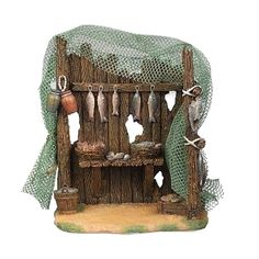 Fontanini 55603 H Fish Shop for The Scale Figurines Italian Nativity Village Building Accessory Christmas Nativity Set, Christmas Ornaments, Fontanini Nativity, Nativity Stable, 7 Fishes, Medieval Houses, Online Gifts, Wicker, Branding Design
