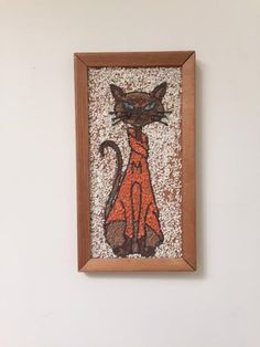 Mediados siglo Gato siamés arena roca colgante de pared de arte