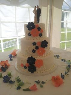 navy and coral wedding cake - Google Search