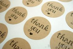 """63 Modern Girlie Thank You Stickers - 1"""" Kraft Stickers - FREE SHIPPING."""