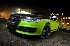 """Vilner Audi Avant The top half of. - Vilner Audi Avant """" The top half of the car is finished in a metallic black hue while the other half is covered in a lime-green mate foil wrap. A new set of black alloy wheels with a. Custom Hot Wheels, Custom Cars, Audi Rs6 Wagon, Audi A6 Rs, Super Pictures, Car Tuning, All Cars, Car Manufacturers, Peugeot"""