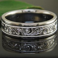 New ring for the hubs? - Platinum, high polish, hand engraved wedding band from Green Lake Jewelry
