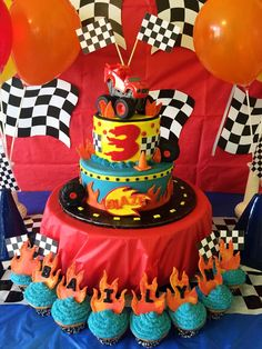 blaze and the monster machines party table | Monster truck cakes, Truck cakes and Monster trucks on Pinterest