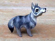 Wolf: Handmade miniature polymer clay animal por AnimalitoClay