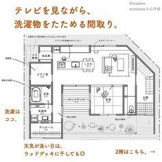 madree(マドリー)さんはInstagramを利用しています:「【 平屋風で、キッチンから見渡せる間取り。】 . . マドリーでは、 建築家さんがその方の暮らしに沿った間取りを、 ひとつひとつ作っています。 . ご依頼はプロフィールURLより😌 👉@madree.jp . . ——————————— ——————————— ————————…」