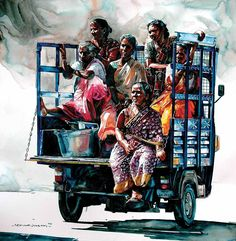 One of my pleasant surprises was to find Rajkumar Sthabathy's watercolor art works on internet. Rajkumar Sthabathy's is an Indian Artist wh. Art Village, Art And Illustration, Watercolor Artists, Watercolor Paintings, Abstract Paintings, Oil Paintings, Composition Painting, Art Du Croquis, India Painting