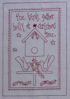 Free Redwork Designs for Christmas | Rosalie Quinlan Designs: Christmas redwork give away!