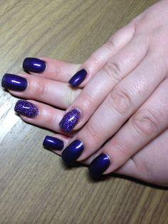 Glitter acryl ringvinger en Paarse gellak