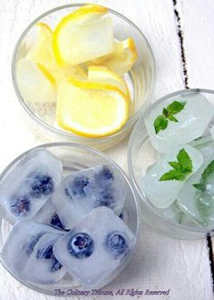 More fancy-pants ice cubes. I could totally make these a week or so before. I know its only ice but, I think something similar would give guests the idea that we like detail! Its simple and could be cheap as we grow lavender, mint, and cucumber as well as lemon, orange, and strawberries (if they grow better than last year!)... just an idea -Steph