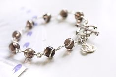 Silver Bracelet, Sterling Silver Lucky Horseshoe Charm Gemstone Bracelet. Wire Wrapped Smoky Quartz Bracelet by PetalsDesignAU