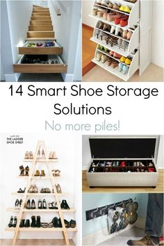 If piles of shoes in your entryway or closets drive you crazy, these smart shoe storage solutions are for you. Find ways to get rid of those shoe piles in your house! Home Depot, Shoe Storage Solutions, Storage Ideas, Organize Your Life, Craft Organization, Organizing Ideas, Staying Organized, Home Hacks, Smart Home