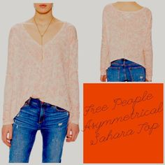 Free People Asymmetrical Sahara Top NWT Authentic NWT by Free People-this is the Asymmetrical Sahara Top -color is Ivory Combo per tag-the top is Ivory in color with a very pretty light coral-ish graphic print throughout. V-neck trapeze style, long sleeves with ruching at the cuffs. This top is unique in its asymmetrical hem-the front of the shirt is long and the back is cropped to waist. 70%rayon/30%linen. *Price Firm unless bundled* Free People Tops Tees - Long Sleeve