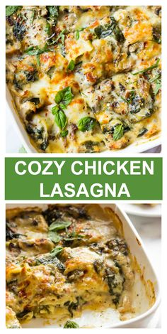 Cozy chicken lasagna with mushroom, spinach, and white sauce.- Cozy chicken lasagna with mushroom, spinach, and white sauce. Chicken Spinach Lasagna, White Chicken Lasagna, Spinach Stuffed Chicken, White Sauce Lasagna, Chicken Spinach Mushroom, Chicken Mushroom Casserole, Lasagna Food, Healthy Lasagna, Mushroom Lasagna