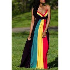 $19.09 Sexy Spaghetti Strap Sleeveless Color Block Maxi Dress For Women