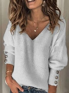 Loose Fashion Pure V neck Long sleeve Knit Sweaters - Cicicloth