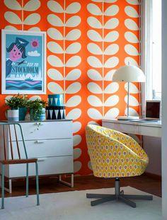 2 rolls of Orla Kiely  Giant Stem  Wallpaper Orange Clementine 110396