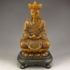 Old Hand Carved Chinese Natural Shoushan Stone Statue - Buddhism Xuanzang
