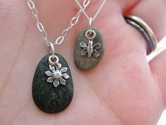 River rocks & silver charms