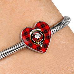 Wemyss Modern Tartan Crest Heart Bracelet – Your Tartan Working Mother, Working Moms, Scottish Tartans, Everyday Items, Heart Bracelet, Bangles, Bracelets, Heart Charm, 18k Gold