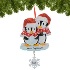 Watercolor Winter Penguins on Snow First Christmas Married 2020 Andaz Press Custom Year Round Metal Christmas Keepsake Ornament 1-Pack Includes Ribbon and Gift Bag
