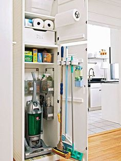 Reorganize Your Utility Closet is part of Cleaning Closet Organization - Transform your utility closet into a lean, mean, home maintenance machine Plus superstar sprays, scrubbers, mops and Laundry Room Storage, Laundry Room Design, Kitchen Storage, Locker Storage, Storage Closets, Laundry Rooms, Kitchen Pantry, Kitchen Decor, Small Laundry