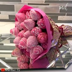 Strawberries and chocolate cover, yumm! Cake Pop Bouquet, Food Bouquet, Candy Bouquet, Flower Cake Pops, Dahlia Bouquet, Hydrangea Bouquet, Succulent Bouquet, Cascade Bouquet, Spring Bouquet